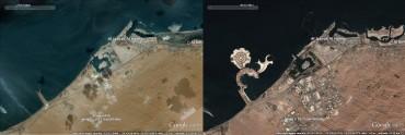 La côte de Ras el Khaïmah en 2004 (à gauche) et en 2011. Le développement immobilier est fulgurant © Google Earth
