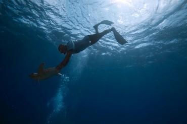 Maurizio aidant une jeune tortue a trouver le chemin du large © Philippe Henry / OCEAN71 Magazine
