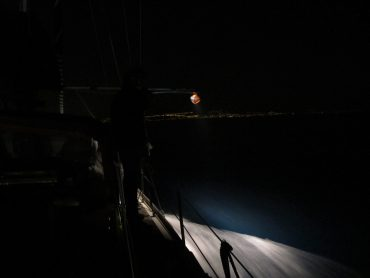 This is the best way to count jellyfish: a sailing boat (Alchimie), a moonless night and a torch pointing downwards to shine a small portion of the Mediterranean Sea © Fabien Lombard