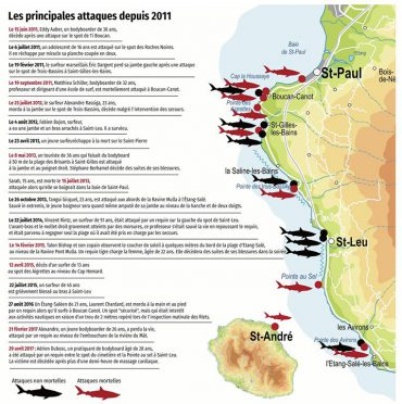 The main shark attacks around Reunion Island since 2011 have been listed © Le Journal de l'Île de La Réunion